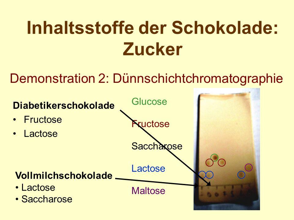 Inhaltsstoffe der Schokolade: Zucker Diabetikerschokolade Fructose Lactose Demonstration 2: Dünnschichtchromatographie Vollmilchschokolade Lactose Sac