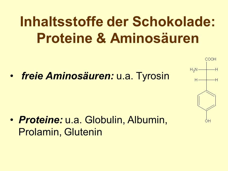Inhaltsstoffe der Schokolade: Proteine & Aminosäuren freie Aminosäuren: u.a. Tyrosin Proteine: u.a. Globulin, Albumin, Prolamin, Glutenin