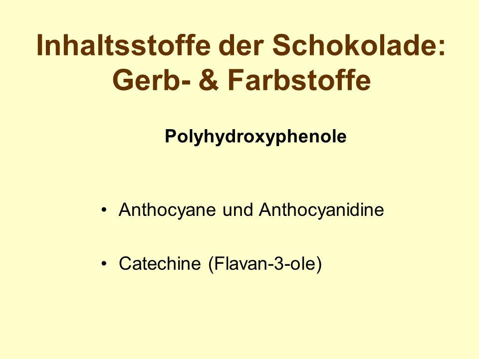 Inhaltsstoffe der Schokolade: Gerb- & Farbstoffe Anthocyane und Anthocyanidine Catechine (Flavan-3-ole) Polyhydroxyphenole