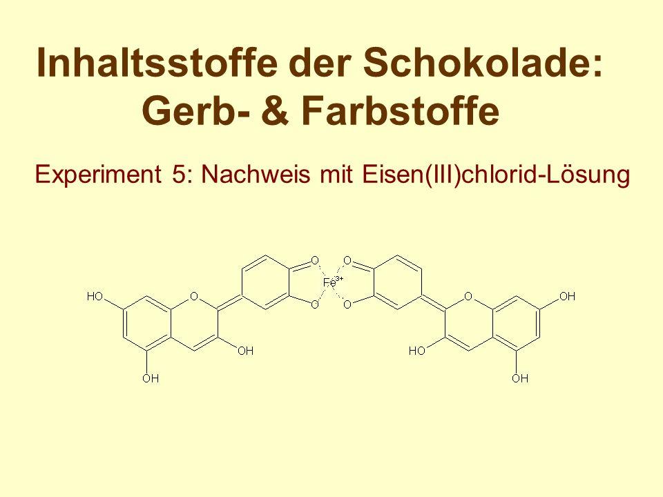 Inhaltsstoffe der Schokolade: Gerb- & Farbstoffe Experiment 5: Nachweis mit Eisen(III)chlorid-Lösung