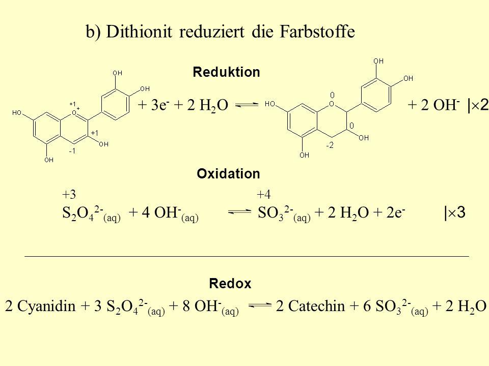 2 Cyanidin + 3 S 2 O 4 2- (aq) + 8 OH - (aq) 2 Catechin + 6 SO 3 2- (aq) + 2 H 2 O +3 +4 S 2 O 4 2- (aq) + 4 OH - (aq) SO 3 2- (aq) + 2 H 2 O + 2e - |
