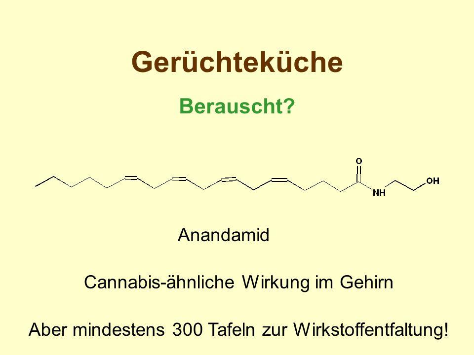 Gerüchteküche Berauscht? Anandamid Cannabis-ähnliche Wirkung im Gehirn Aber mindestens 300 Tafeln zur Wirkstoffentfaltung!