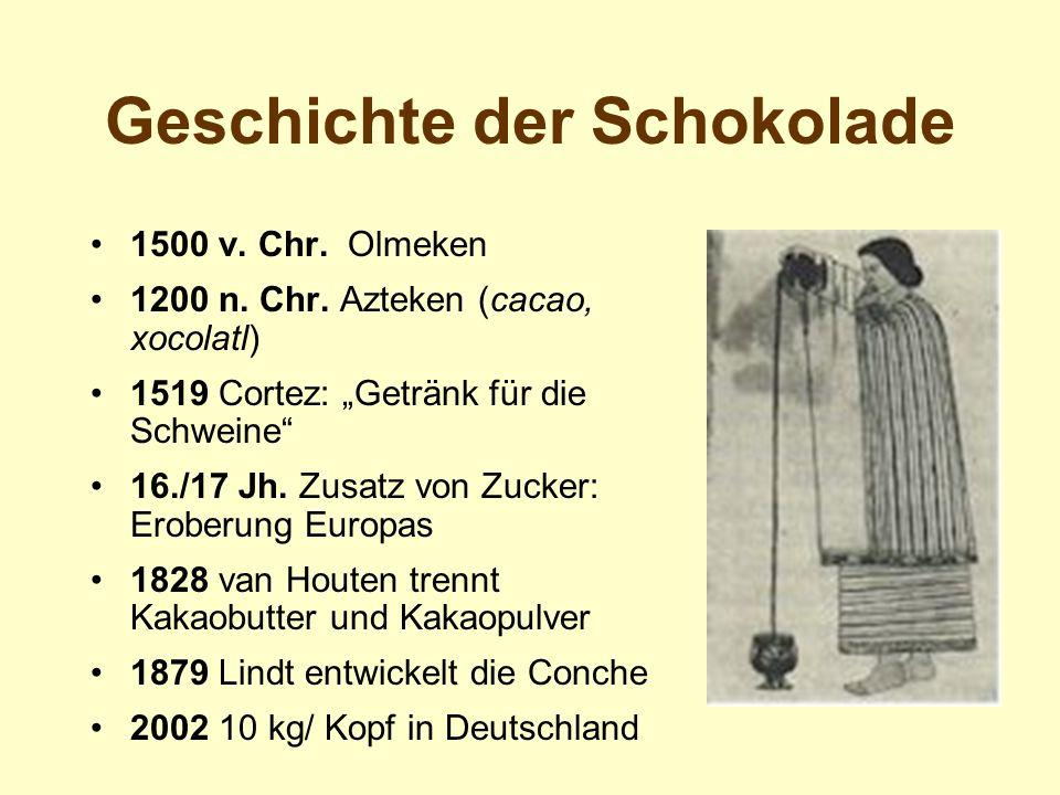 Geschichte der Schokolade 1500 v. Chr. Olmeken 1200 n. Chr. Azteken (cacao, xocolatl) 1519 Cortez: Getränk für die Schweine 16./17 Jh. Zusatz von Zuck