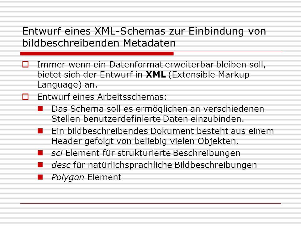 Entwurf eines XML-Schemas zur Einbindung von bildbeschreibenden Metadaten Immer wenn ein Datenformat erweiterbar bleiben soll, bietet sich der Entwurf in XML (Extensible Markup Language) an.
