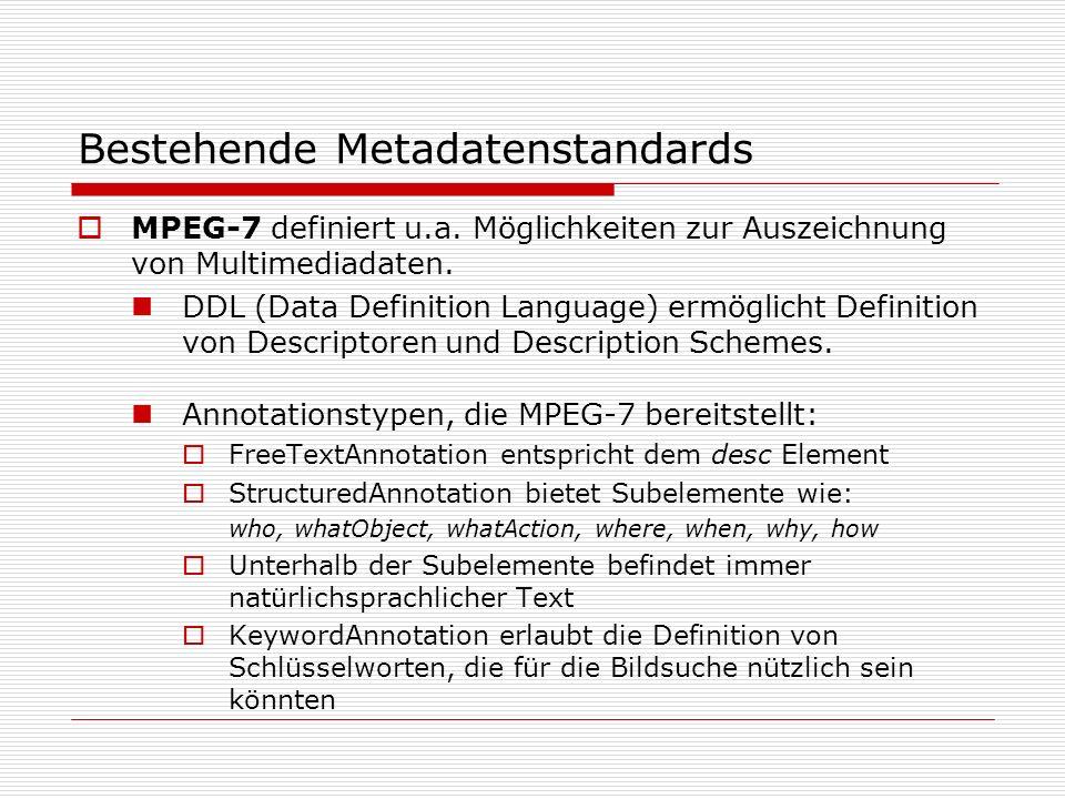 Bestehende Metadatenstandards MPEG-7 definiert u.a.