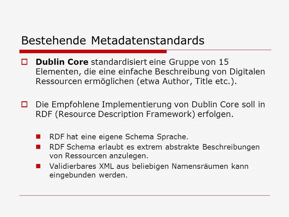 Dublin Core standardisiert eine Gruppe von 15 Elementen, die eine einfache Beschreibung von Digitalen Ressourcen ermöglichen (etwa Author, Title etc.).