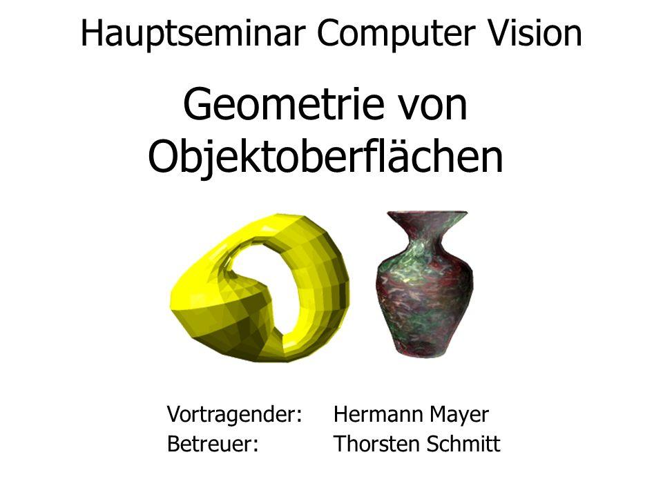 Hauptseminar Computer Vision Geometrie von Objektoberflächen Vortragender:Hermann Mayer Betreuer:Thorsten Schmitt