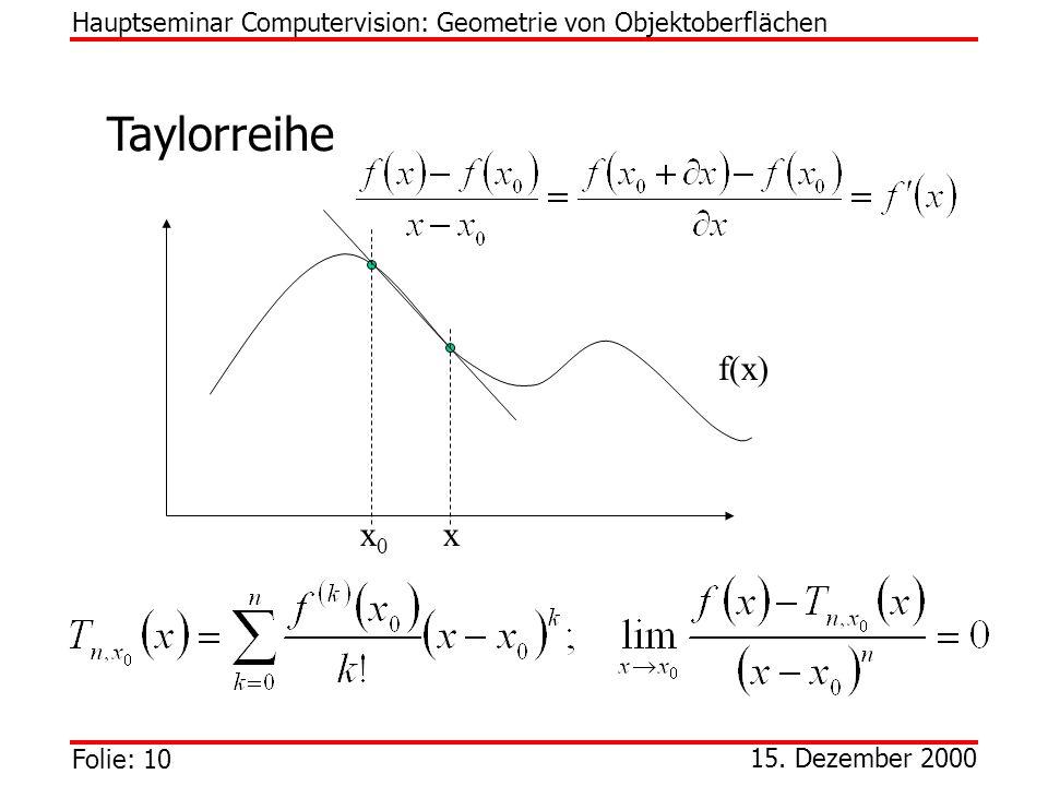 Folie: 10 15. Dezember 2000 Taylorreihe Hauptseminar Computervision: Geometrie von Objektoberflächen f(x) xx0x0