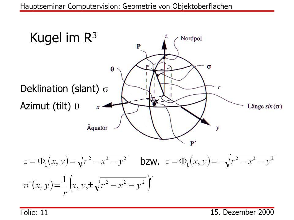 Folie: 11 15. Dezember 2000 Kugel im R 3 Hauptseminar Computervision: Geometrie von Objektoberflächen Deklination (slant) Azimut (tilt) bzw.