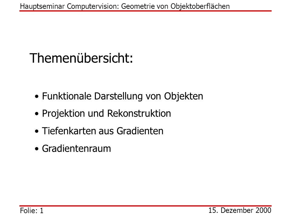 Folie: 1 Hauptseminar Computervision: Geometrie von Objektoberflächen 15. Dezember 2000 Themenübersicht: Funktionale Darstellung von Objekten Projekti