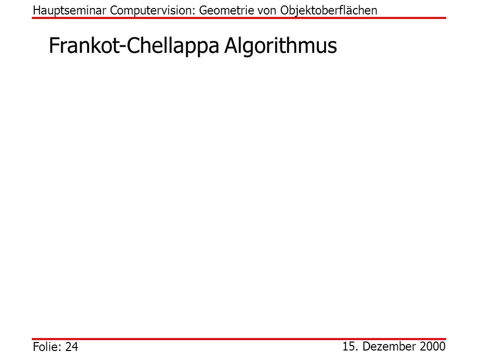 Folie: 24 15. Dezember 2000 Frankot-Chellappa Algorithmus Hauptseminar Computervision: Geometrie von Objektoberflächen