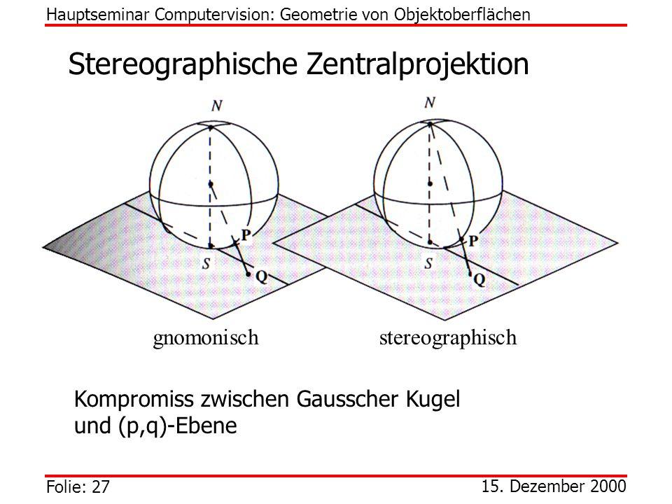 Folie: 27 15. Dezember 2000 Stereographische Zentralprojektion Hauptseminar Computervision: Geometrie von Objektoberflächen stereographischgnomonisch