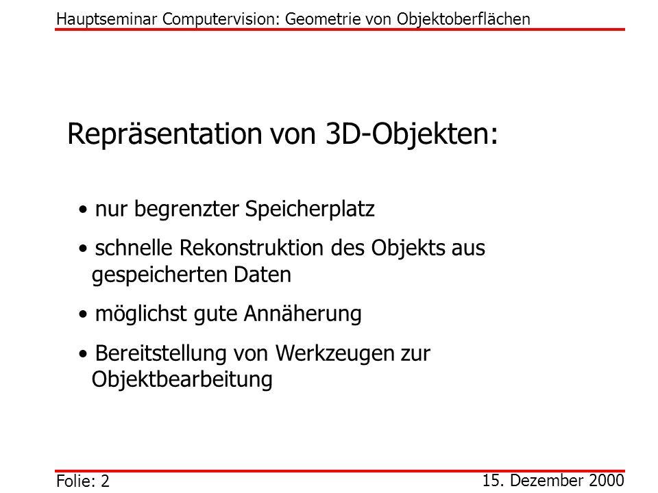 Repräsentation von 3D-Objekten: nur begrenzter Speicherplatz schnelle Rekonstruktion des Objekts aus gespeicherten Daten möglichst gute Annäherung Ber