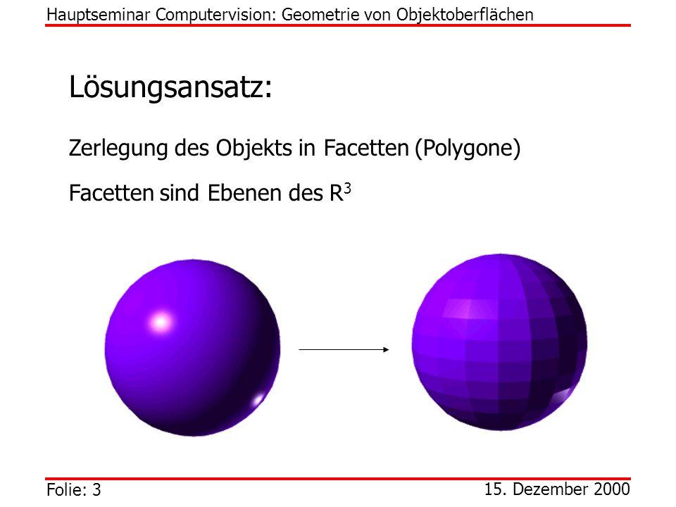 Folie: 3 Hauptseminar Computervision: Geometrie von Objektoberflächen 15. Dezember 2000 Lösungsansatz: Zerlegung des Objekts in Facetten (Polygone) Fa