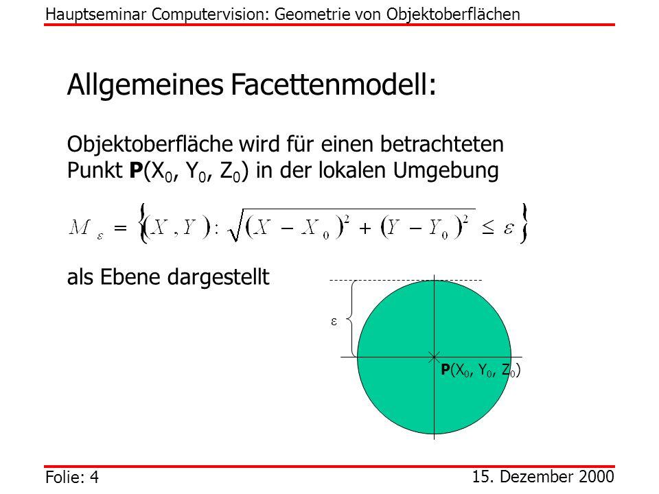 Folie: 4 15. Dezember 2000 Allgemeines Facettenmodell: Objektoberfläche wird für einen betrachteten Punkt P(X 0, Y 0, Z 0 ) in der lokalen Umgebung al