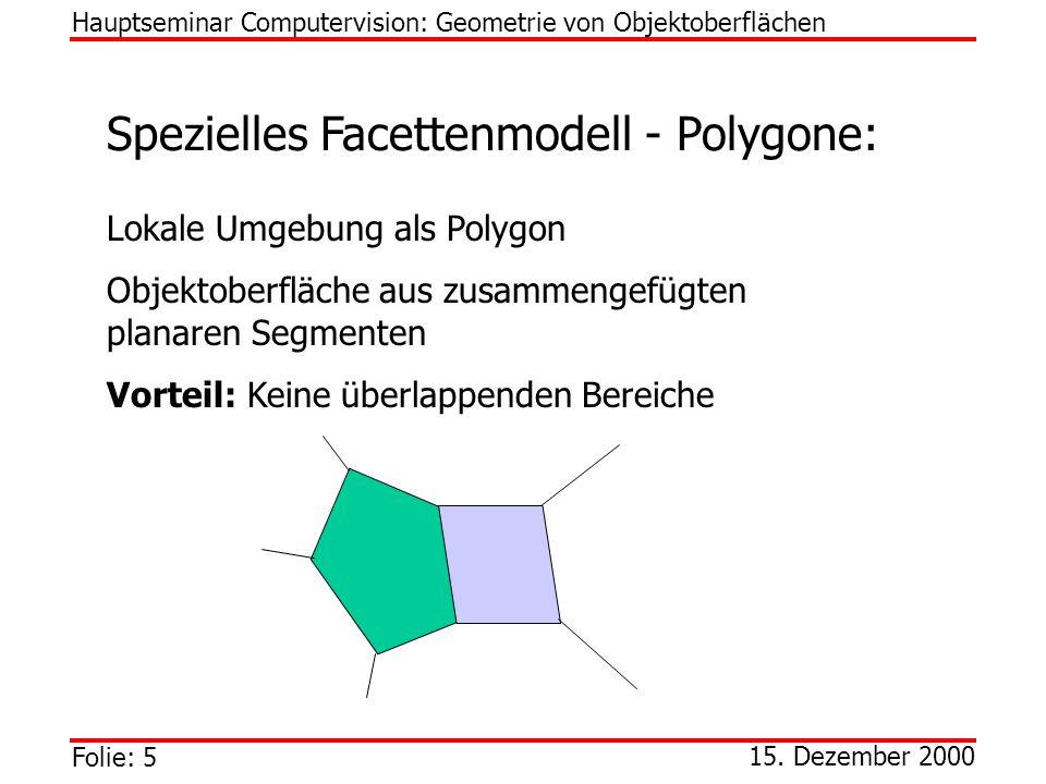 Folie: 5 15. Dezember 2000 Spezielles Facettenmodell - Polygone: Lokale Umgebung als Polygon Objektoberfläche aus zusammengefügten planaren Segmenten