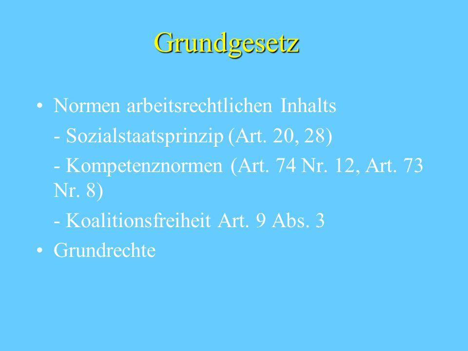 Grundgesetz Normen arbeitsrechtlichen Inhalts - Sozialstaatsprinzip (Art. 20, 28) - Kompetenznormen (Art. 74 Nr. 12, Art. 73 Nr. 8) - Koalitionsfreihe