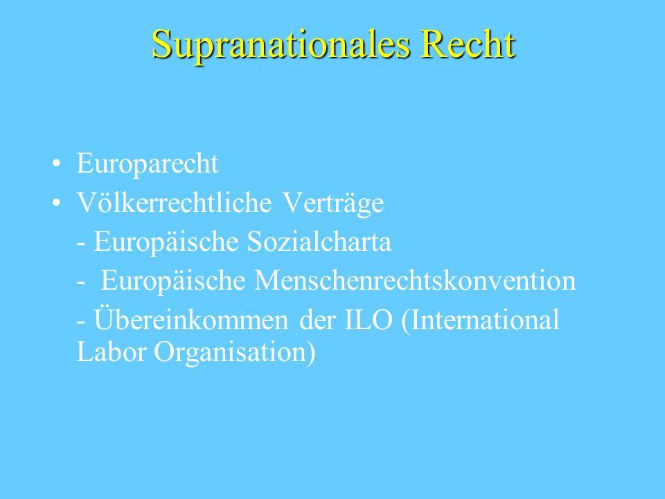 Supranationales Recht Europarecht Völkerrechtliche Verträge - Europäische Sozialcharta - Europäische Menschenrechtskonvention - Übereinkommen der ILO (International Labor Organisation)