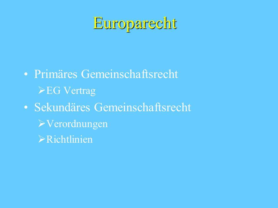 Europarecht Primäres Gemeinschaftsrecht EG Vertrag Sekundäres Gemeinschaftsrecht Verordnungen Richtlinien
