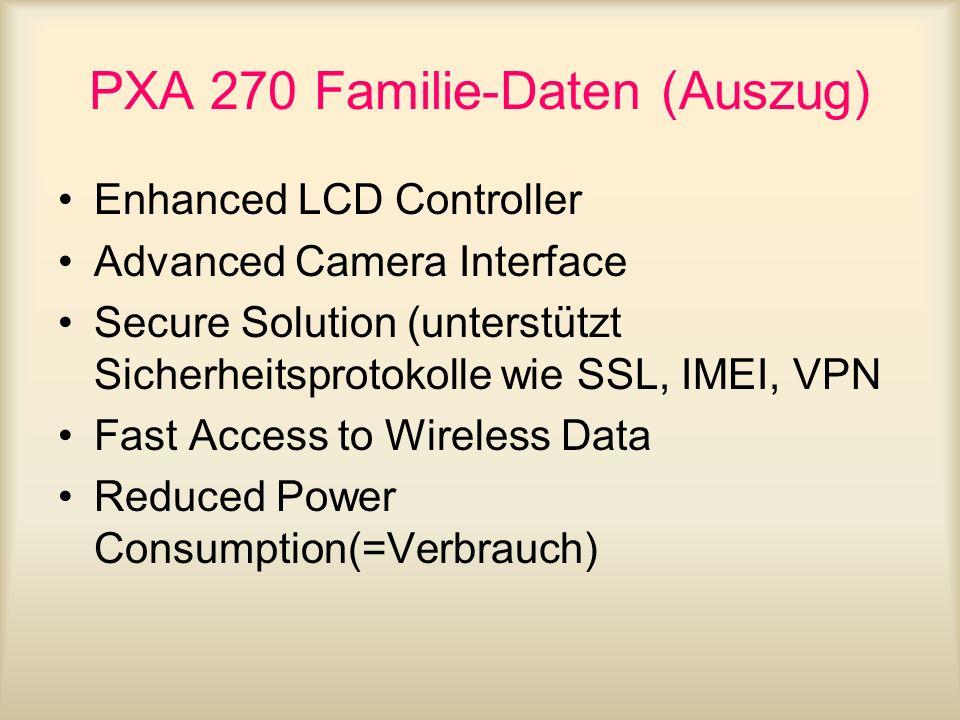 PXA 270 Familie-Daten (Auszug) Enhanced LCD Controller Advanced Camera Interface Secure Solution (unterstützt Sicherheitsprotokolle wie SSL, IMEI, VPN
