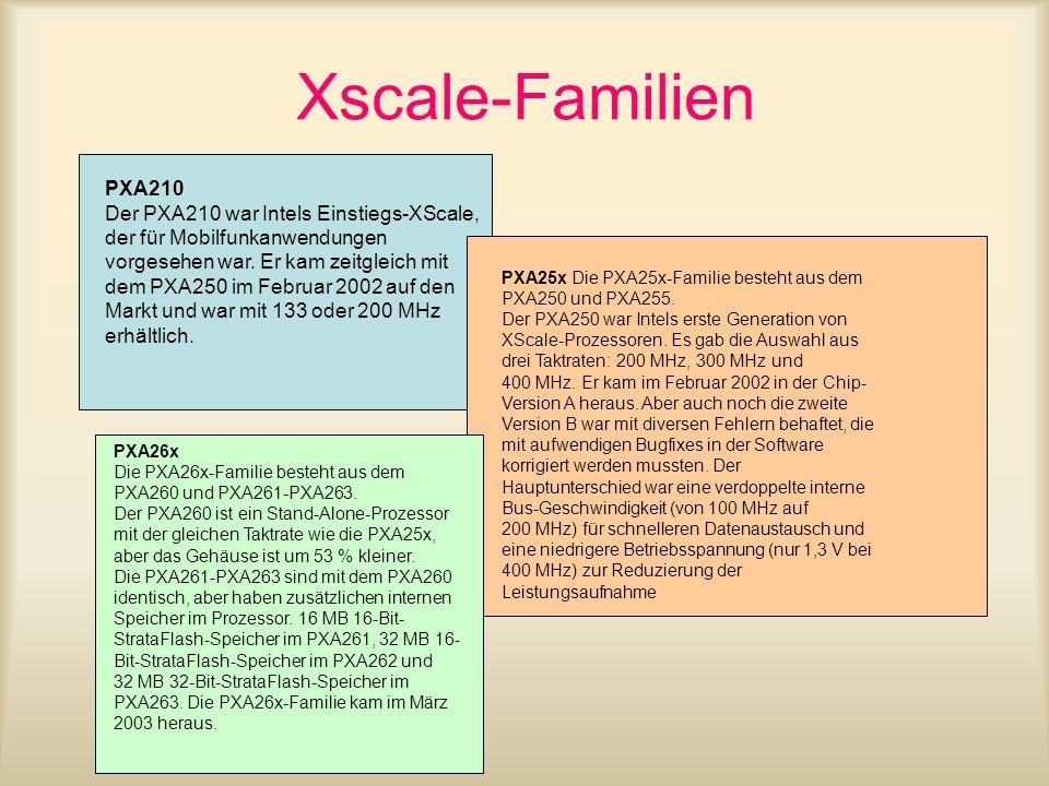 Xscale-Familien PXA210 Der PXA210 war Intels Einstiegs-XScale, der für Mobilfunkanwendungen vorgesehen war. Er kam zeitgleich mit dem PXA250 im Februa