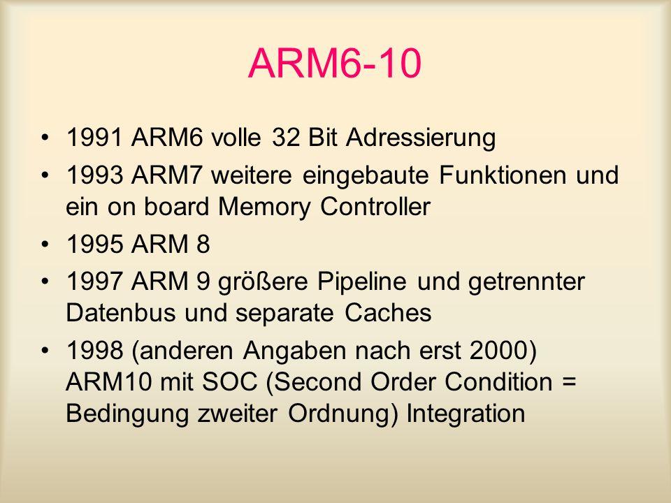 ARM6-10 1991 ARM6 volle 32 Bit Adressierung 1993 ARM7 weitere eingebaute Funktionen und ein on board Memory Controller 1995 ARM 8 1997 ARM 9 größere P