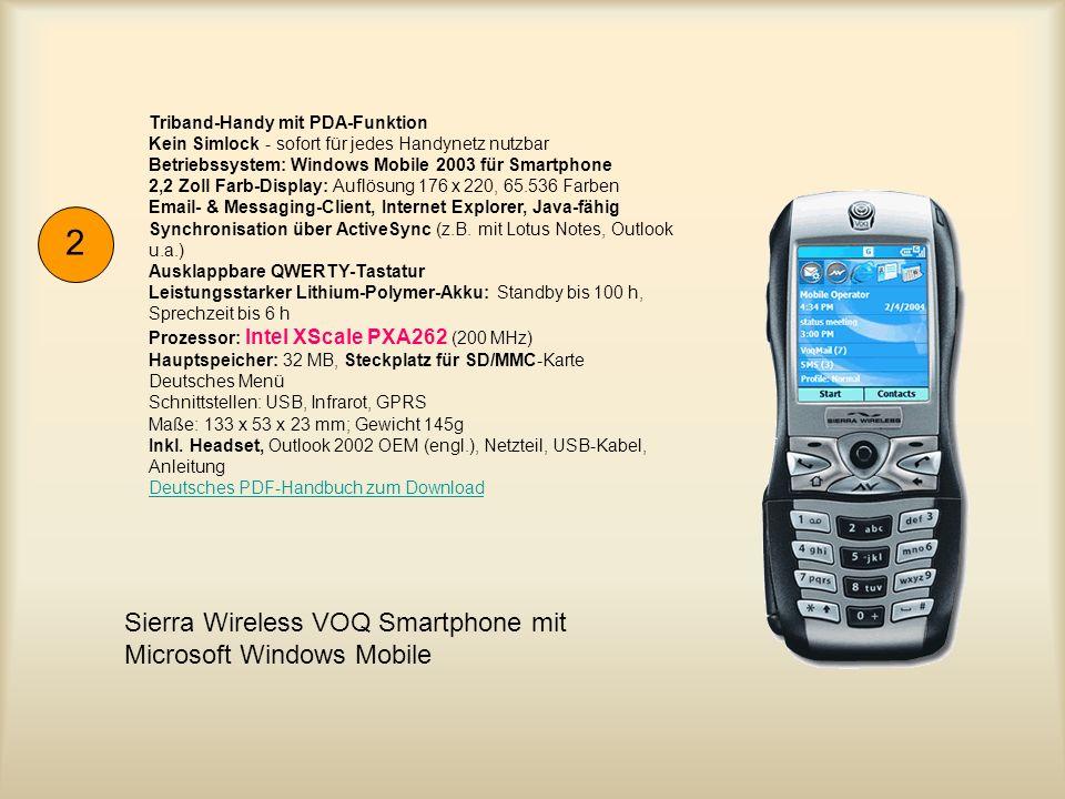 Intel PXA255 300 MHz Prozessor, 32 MB ROM / 64 MB RAM, 240 x 320 Farb- transflektiver TFT, 65.536 Farben, SD/MMC Kartenslots, Bluetooth, Infrarot, USB 1.1, Lithium-Ion-Akku, Standby: bis zu 350 Std, Betrieb: bis zu 10 Std, Microsoft Windows Mobile Software 2003, 70,6 x 113,1 x 14,1 mm, 125 g 3