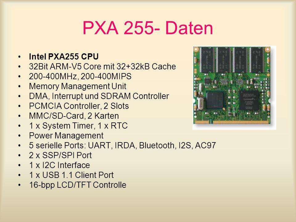 Beispiel S3C2410 Features (Operating Conditions Package ) internal: 1.8V/2.0V External I/O : 3.3V Speed : 203MHz@1.8V (3.0/3.3V memory interface) 266MHz@2.0V (3.3V memory interface) Memory Interface : 3.0V/3.3V 272 FPBGA 14 x 14