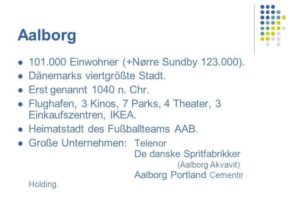 Geografie Aalborg - Hannover: 605 km. Aalborg - Kopenhagen: 413 km. Aalborg - Aarhus: 118 km.