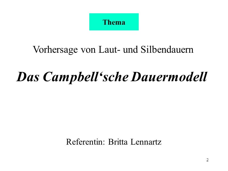 2 Vorhersage von Laut- und Silbendauern Das Campbellsche Dauermodell Referentin: Britta Lennartz Thema