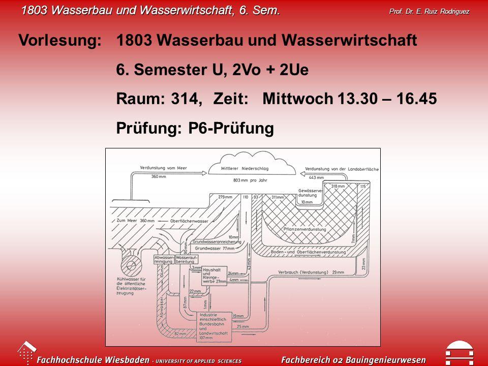 1803 Wasserbau und Wasserwirtschaft, 6. Sem. Prof. Dr. E. Ruiz Rodriguez Vorlesung: 1803 Wasserbau und Wasserwirtschaft 6. Semester U, 2Vo + 2Ue Raum: