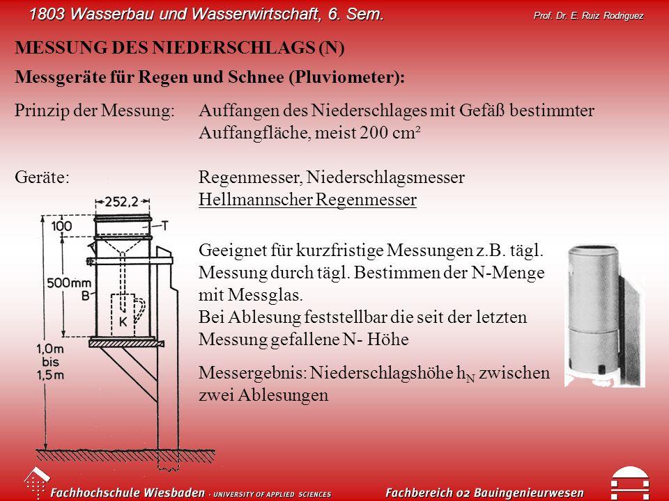 1803 Wasserbau und Wasserwirtschaft, 6. Sem. Prof. Dr. E. Ruiz Rodriguez MESSUNG DES NIEDERSCHLAGS (N) Messgeräte für Regen und Schnee (Pluviometer):