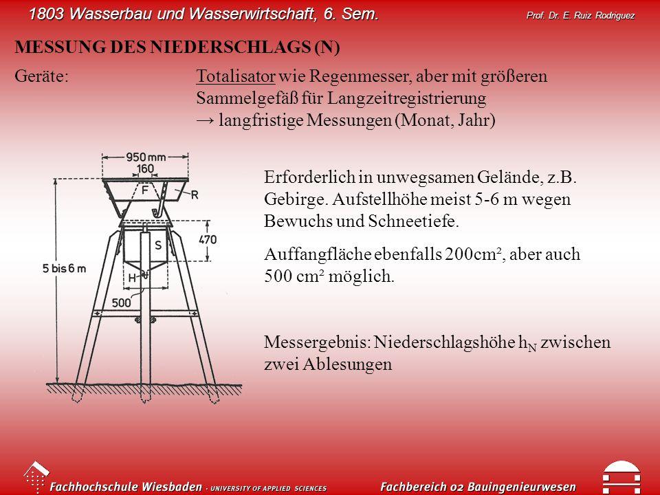 1803 Wasserbau und Wasserwirtschaft, 6. Sem. Prof. Dr. E. Ruiz Rodriguez MESSUNG DES NIEDERSCHLAGS (N) Geräte:Totalisator wie Regenmesser, aber mit gr