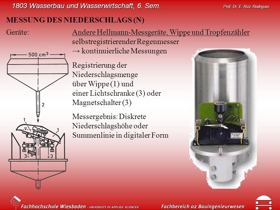 1803 Wasserbau und Wasserwirtschaft, 6. Sem. Prof. Dr. E. Ruiz Rodriguez MESSUNG DES NIEDERSCHLAGS (N) Geräte:Andere Hellmann-Messgeräte, Wippe und Tr