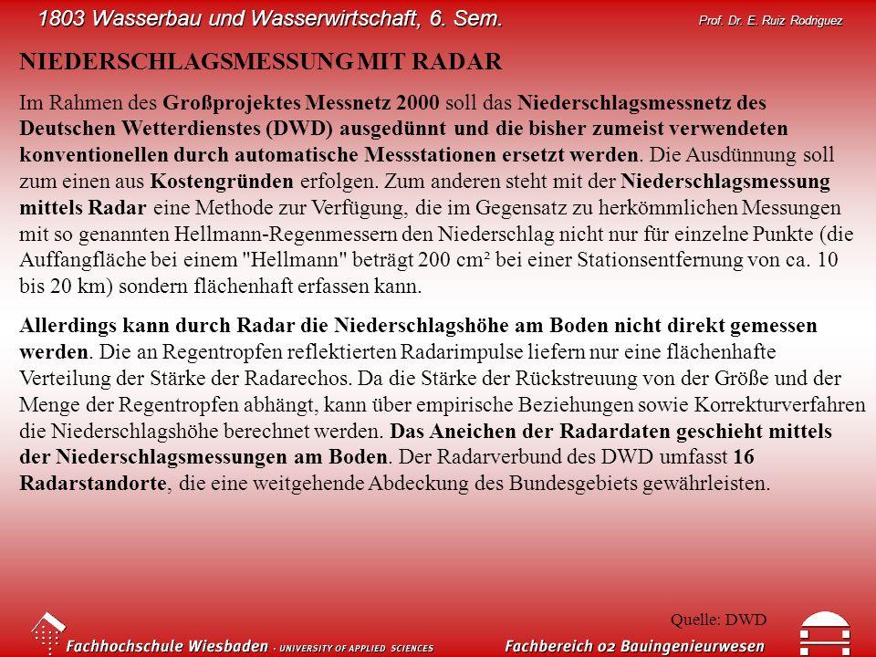1803 Wasserbau und Wasserwirtschaft, 6. Sem. Prof. Dr. E. Ruiz Rodriguez NIEDERSCHLAGSMESSUNG MIT RADAR Im Rahmen des Großprojektes Messnetz 2000 soll