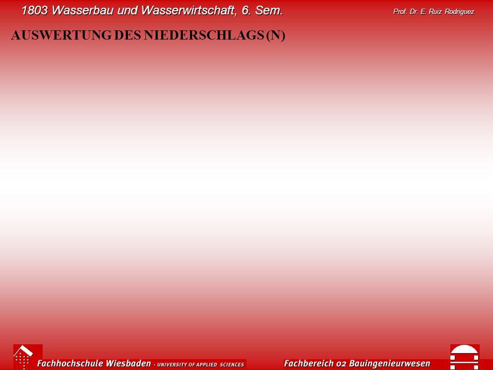 1803 Wasserbau und Wasserwirtschaft, 6. Sem. Prof. Dr. E. Ruiz Rodriguez AUSWERTUNG DES NIEDERSCHLAGS (N)
