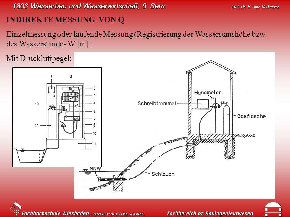 1803 Wasserbau und Wasserwirtschaft, 6. Sem. Prof. Dr. E. Ruiz Rodriguez INDIREKTE MESSUNG VON Q Einzelmessung oder laufende Messung (Registrierung de