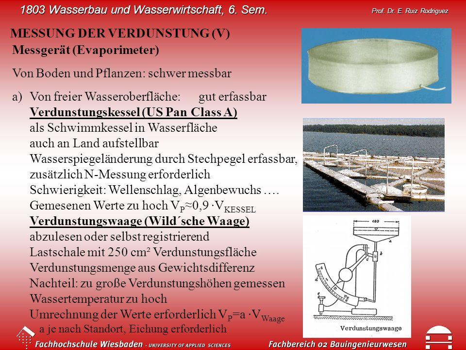 1803 Wasserbau und Wasserwirtschaft, 6. Sem. Prof. Dr. E. Ruiz Rodriguez MESSUNG DER VERDUNSTUNG (V) Messgerät (Evaporimeter) Von Boden und Pflanzen: