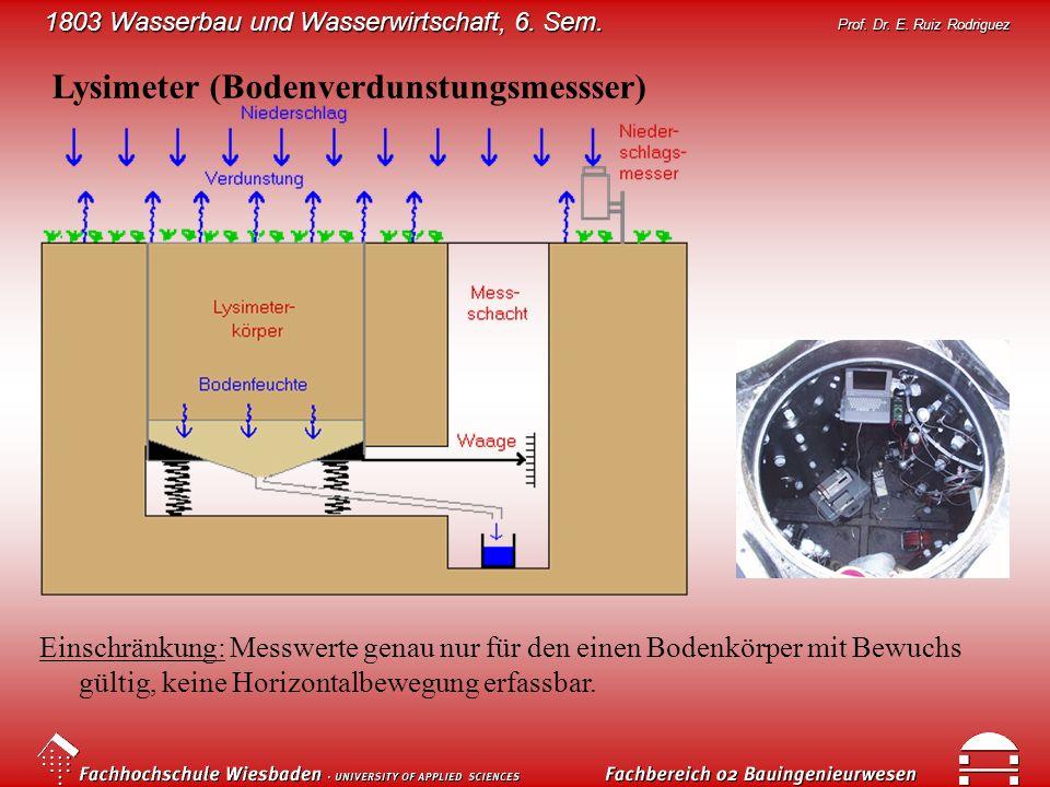 1803 Wasserbau und Wasserwirtschaft, 6. Sem. Prof. Dr. E. Ruiz Rodriguez Lysimeter (Bodenverdunstungsmessser) Einschränkung: Messwerte genau nur für d
