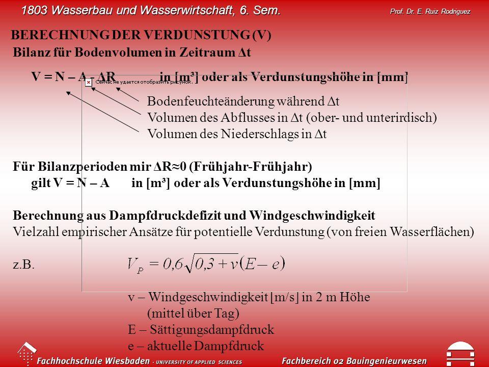 1803 Wasserbau und Wasserwirtschaft, 6. Sem. Prof. Dr. E. Ruiz Rodriguez BERECHNUNG DER VERDUNSTUNG (V) Bilanz für Bodenvolumen in Zeitraum Δt V = N –