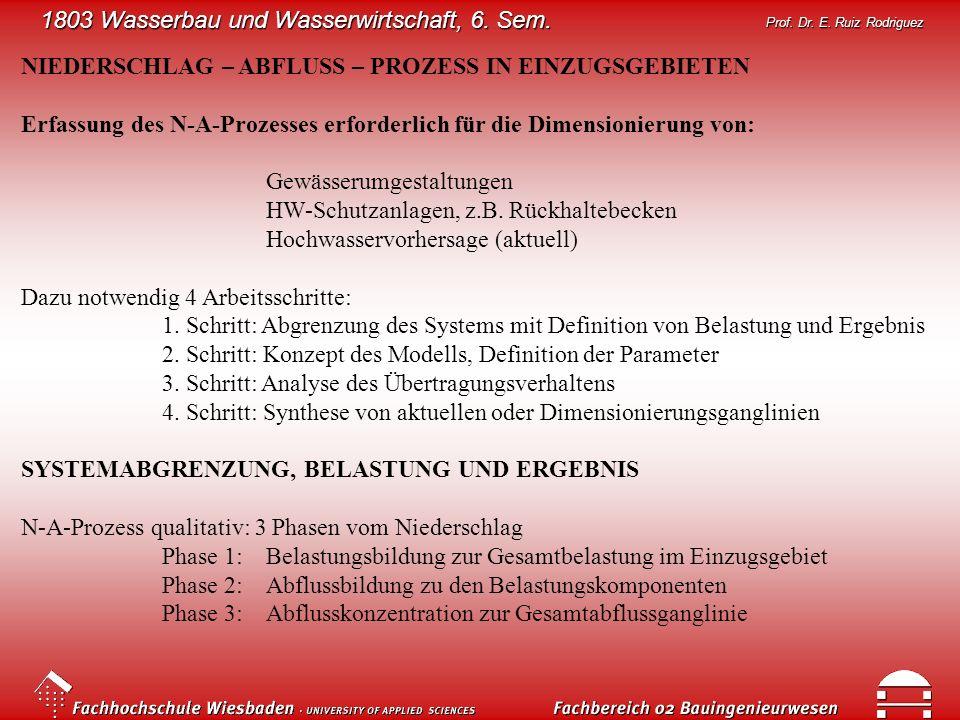 1803 Wasserbau und Wasserwirtschaft, 6. Sem. Prof. Dr. E. Ruiz Rodriguez NIEDERSCHLAG – ABFLUSS – PROZESS IN EINZUGSGEBIETEN Erfassung des N-A-Prozess