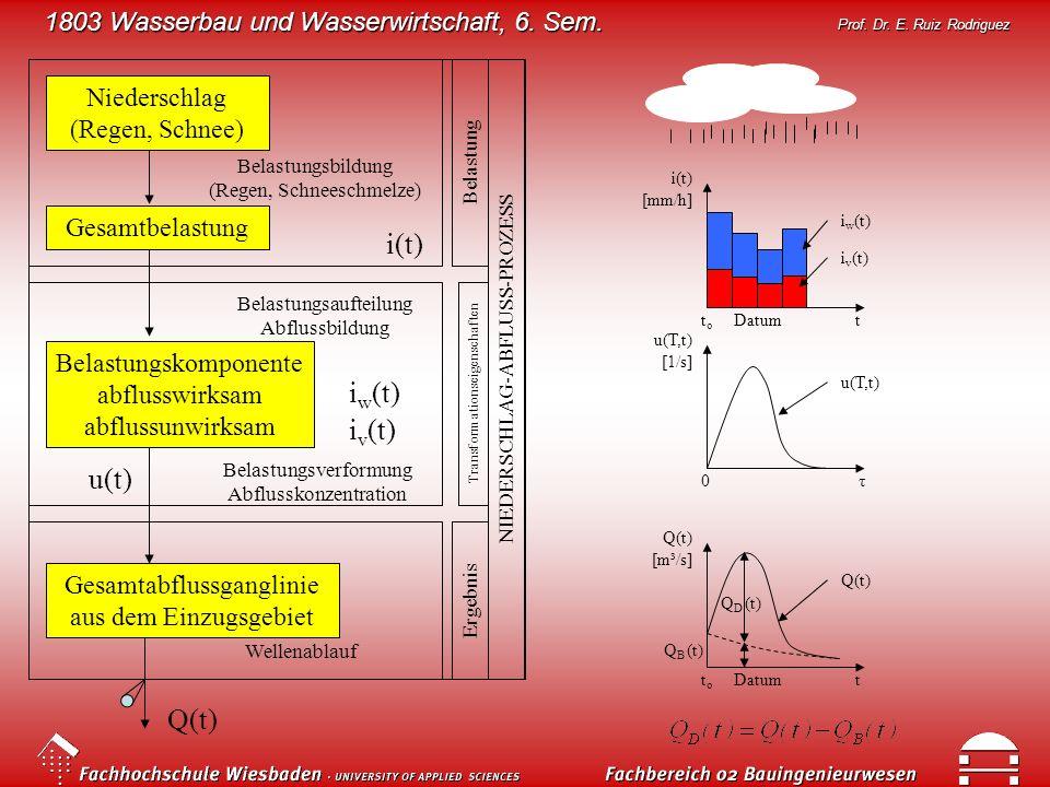 1803 Wasserbau und Wasserwirtschaft, 6. Sem. Prof. Dr. E. Ruiz Rodriguez Niederschlag (Regen, Schnee) Gesamtbelastung Belastungskomponente abflusswirk