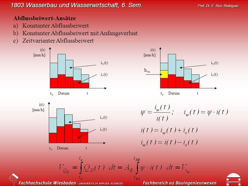 1803 Wasserbau und Wasserwirtschaft, 6. Sem. Prof. Dr. E. Ruiz Rodriguez Abflussbeiwert-Ansätze a)Konstanter Abflussbeiwert b)Konstanter Abflussbeiwer