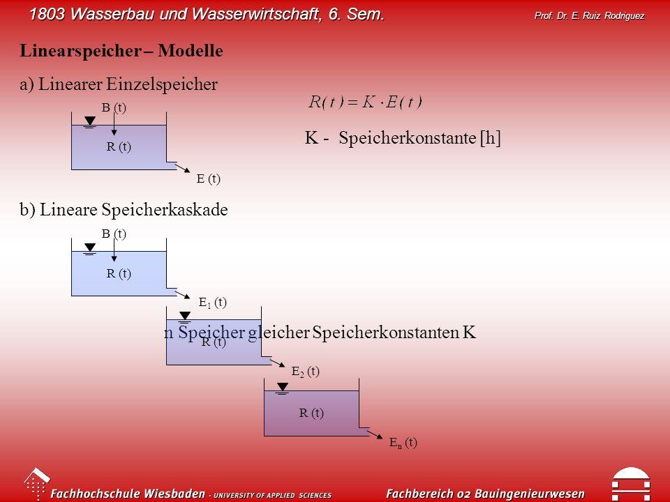 1803 Wasserbau und Wasserwirtschaft, 6. Sem. Prof. Dr. E. Ruiz Rodriguez Linearspeicher – Modelle a) Linearer Einzelspeicher R (t) B (t) E (t) b) Line