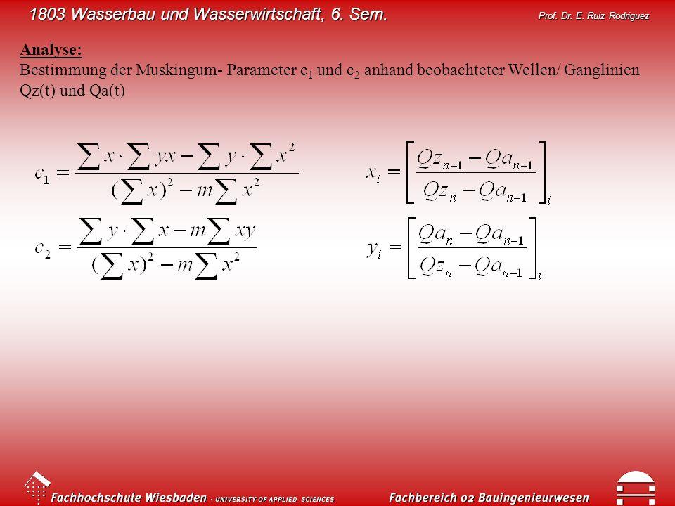 1803 Wasserbau und Wasserwirtschaft, 6. Sem. Prof. Dr. E. Ruiz Rodriguez Analyse: Bestimmung der Muskingum- Parameter c 1 und c 2 anhand beobachteter