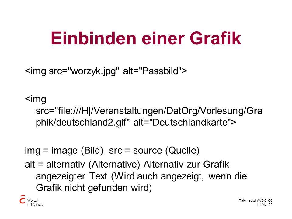 Worzyk FH Anhalt Telemedizin WS 01/02 HTML - 12 Hyperlink Verweisanker Fachbereich Informatik Der Text Fachbereich Informatik wird als Verweis gekennzeichnet, wenn er angeklickt wird, wird die URL www.inf.hs-anhalt.de angesprochen.