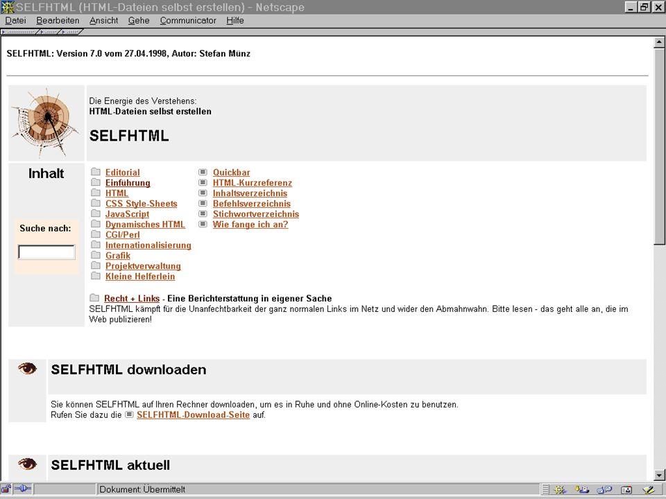 Worzyk FH Anhalt Telemedizin WS 01/02 HTML - 3 HTML Auszeichnungssprache (Markup Language) –Beschreibt logische Bestandteile eines Dokuments –Enthält Text und Darstellungsattribute –Kann Verweise zu anderen Dokumenten enthalten