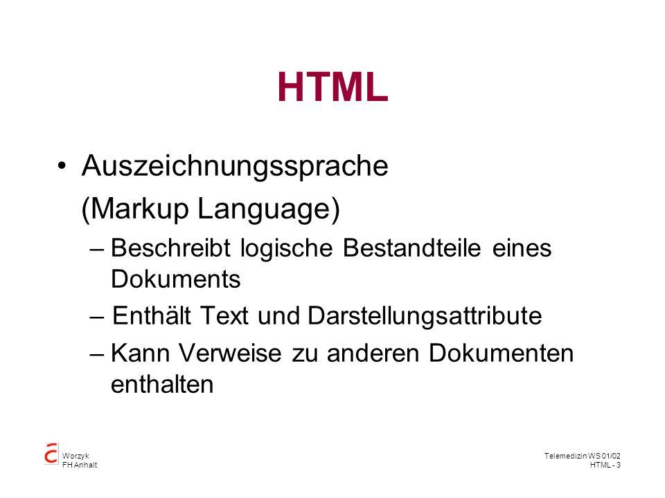 Worzyk FH Anhalt Telemedizin WS 01/02 HTML - 4 Syntax Allgemeiner HTML-Befehl Text Beispiele: HTML - die Sprache des WWW tag