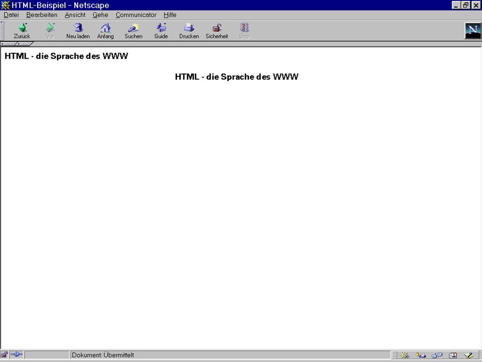 Worzyk FH Anhalt Telemedizin WS 01/02 HTML - 6 Aufbau eines Dokuments Titel des Dokumentes Text, Verweise, Grafik