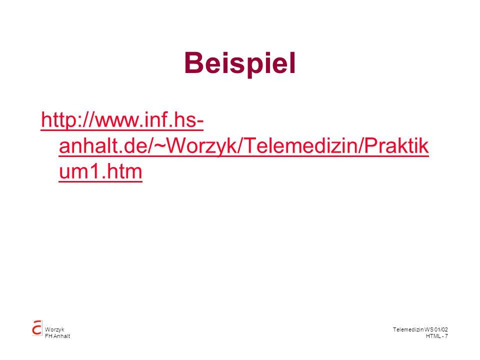Worzyk FH Anhalt Telemedizin WS 01/02 HTML - 8 Beispiel
